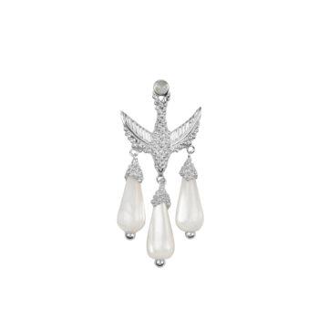 E2051 Silver Bird Three White Stones Stud Earring Silver (SINGLE PIECE) 39,95