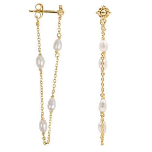 E2053 Gold Pearl Chain Stud Earring Gold Plated 39,95