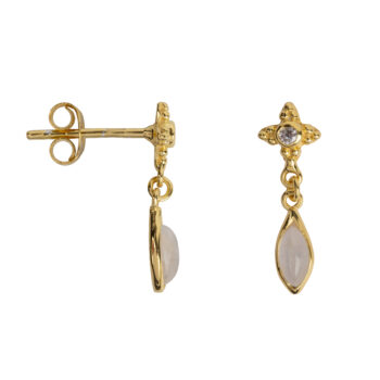E2054 Gold Antique Dotted Moonstone with Drop Stud Earring Gold Plated 39,95
