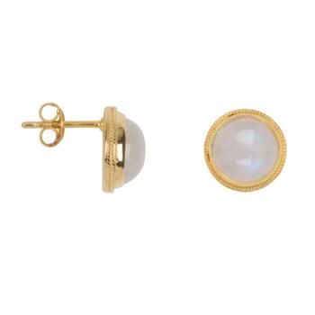 E2055 Gold Moonstone Vintage Setting Stud Earring Gold Plated 59,95