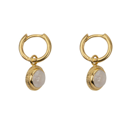 E2055a Gold Moonstone Vintage Setting Small Hoop Earring Gold Plated 49,95