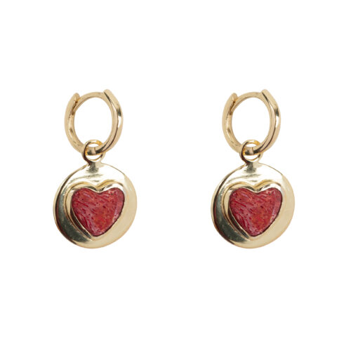 E2056 Gold Red Heart Small Hoop Earring Gold Plated 49,95