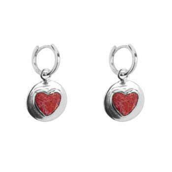 E2056 Silver Red Heart Small Hoop Earring Silver 39,95