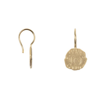 E2059b Gold Ten Cent Reversed Hook Earring Gold Plated 44,94