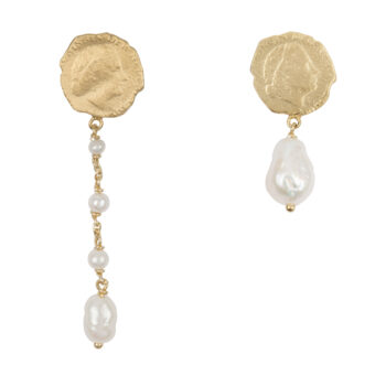E2059c Gold Ten Cent Asymmetric Chain Pearl Earring Gold Plated 59,95