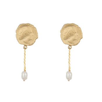 E2059d Gold Ten Cent Symmetric Chain Pearl Earring Gold Plated 59,95