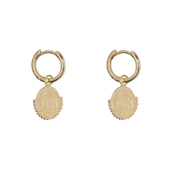 E2064 Gold Old Coin Small Hoop Earring Gold Plated 44,95