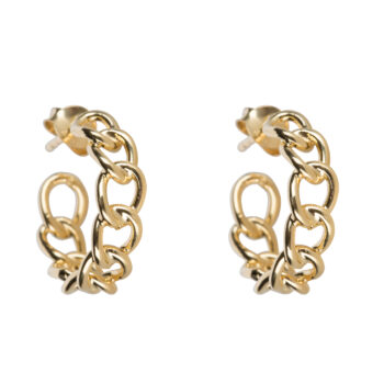 E2066 Gold Big Chain Hoop Earring Gold Plated 44,95