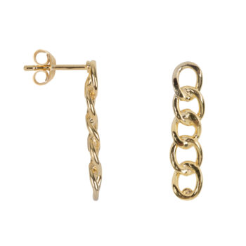 E2067 Gold Big Chain Stud Earring Gold Plated 59,95