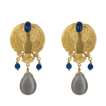 E2070 Gold Eagle Grey Stone Stud Earring Gold Plated 99,95