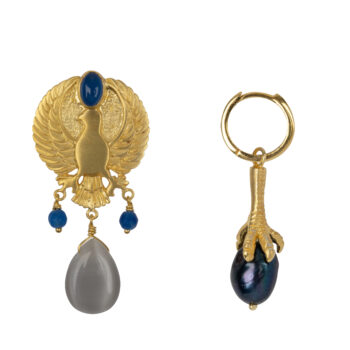 E2073 Gold Eagle Grey Stone and Claw Black Pearl Small Hoop Earring Gold Plated 89,95