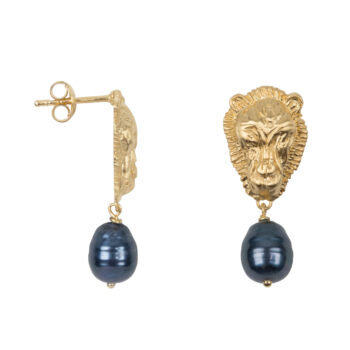 E2074 Gold Lion Black Pearl Stud Earring Gold Plated 59,95