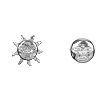 E2075a Silver Sun and Moon Stud Earring Silver 34,95