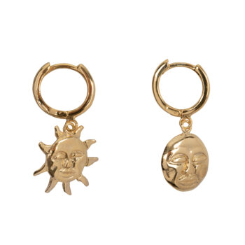 E2075b Gold Sun and Moon Small Hoop Earring Gold Plated 39,95