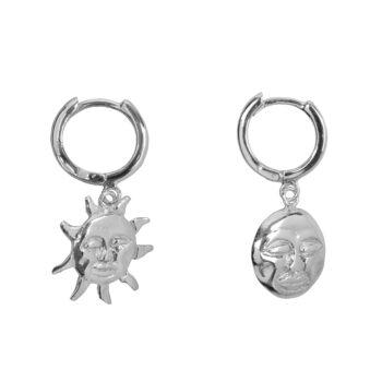 E2075b Silver Sun and Moon Small Hoop Earring Silver 34,95