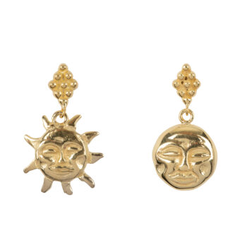 E2075c Gold Sun and Moon Dotted Stud Earring Gold Plated 39,95