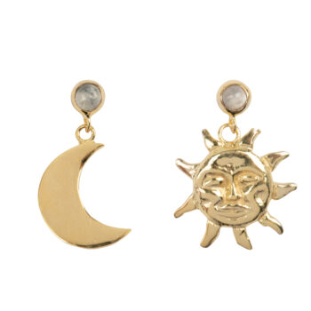 E2075d Gold Sun and Moon Moonstone Stud Earring Gold Plated 39,95