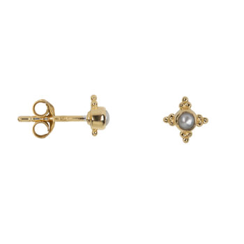 E2078 Gold Antique Four Sides Dotted Pearl Stud Earring Gold Plated 34,95