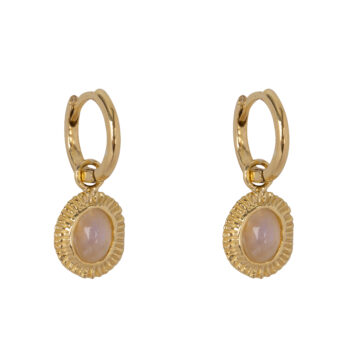 E2080 Gold Moonstone Ribbed Small Hoop Earring Gold Plated 59,95
