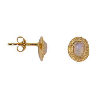 E2080a Gold Moonstone Ribbed Stud Earring Gold Plated 49,95