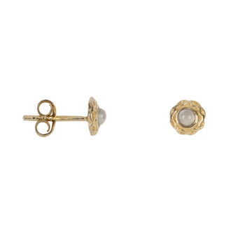E2081 Gold Small Curly Edge Moonstone Stud Earring Gold Plated 39,95