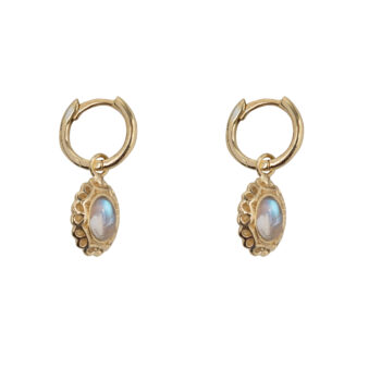 E5058 Gold Antique Moonstone Small Hoops Earring Gold Plated 59,95