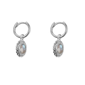 E5058 Silver Antique Moonstone Small Hoops Earring Silver 49,95