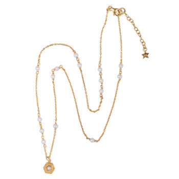 N2076 Gold Big Vintage Pearl Coin Pearls Necklace Gold Plated 79,95