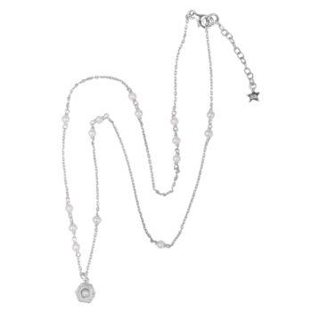 N2076 Silver Big Vintage Pearl Coin Pearls Necklace Silver 69,95
