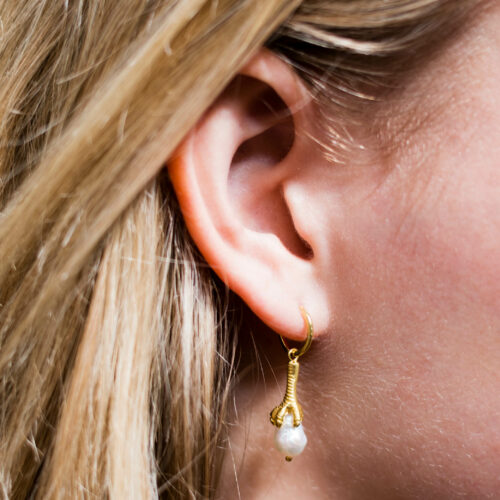 Bird And Claw Pearl Earring