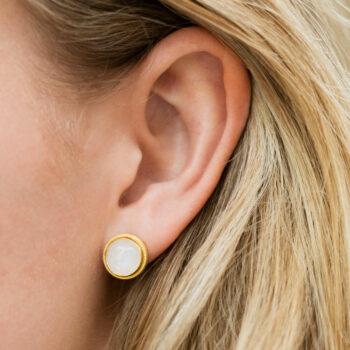 Moonstone Vintage Setting Stud Earring