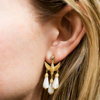 Bird Three White Stones Stud Earing (SINGLE PIECE)