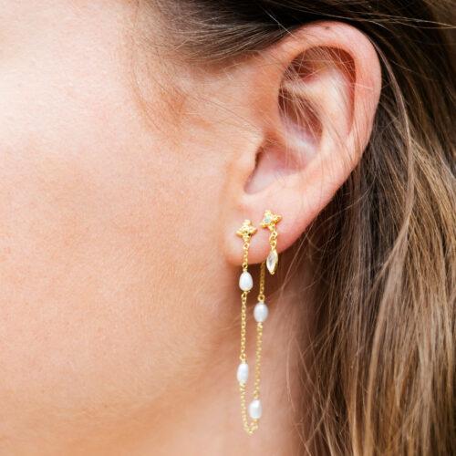 Pearl Chain Stud Earring