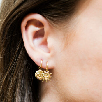 Sun and Moon Stud Earring Gold Plated
