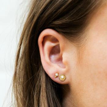 Big Vintage Pearl Coin Stud Earring