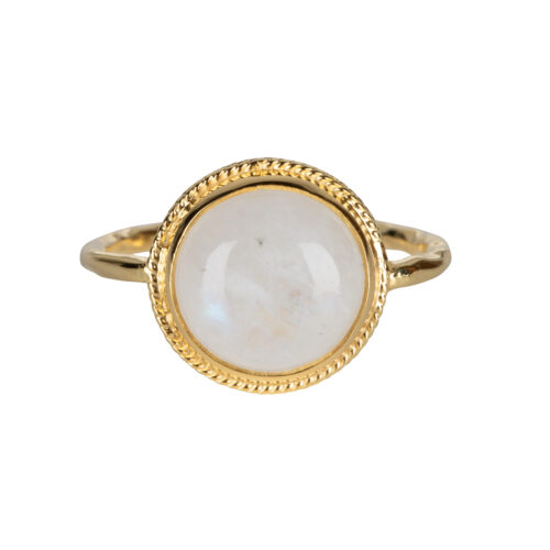 R2055 Gold Size 14 Moonstone Vintage Setting Ring Gold Plated 59,95