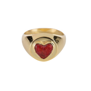 R2056 Gold Red Heart Ring Gold Plated 59,95