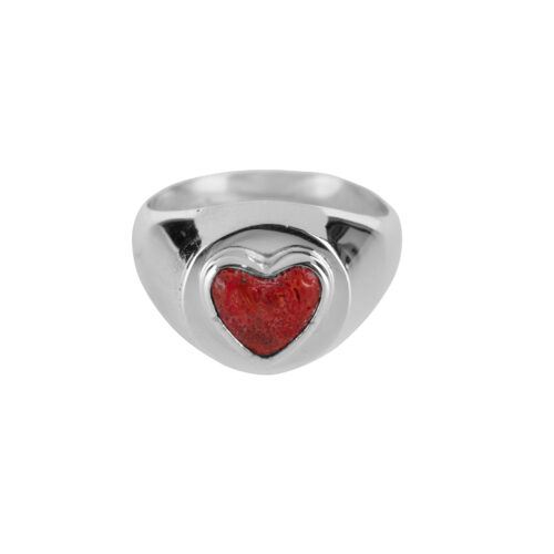 R2056 Silver Red Heart Ring Silver 49,95