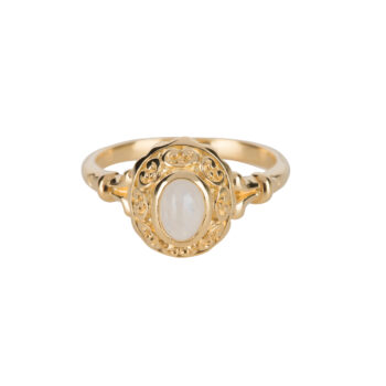 R5058 Gold Antique Moonstone Ring Gold Plated 59,95