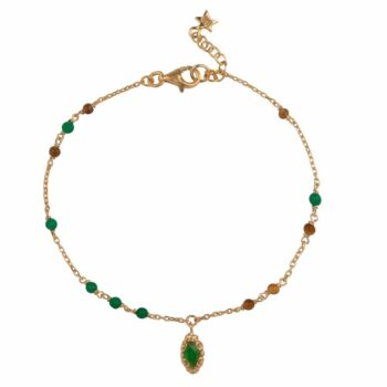 B2102 Gold Beads Green and Camel Antique Drop Bracelet Gold Plated 69,95