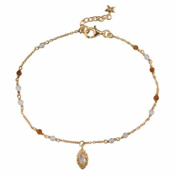 B2103 Gold Beads White and Camel Small Antique Drop Bracelet Gold Plated 69,95