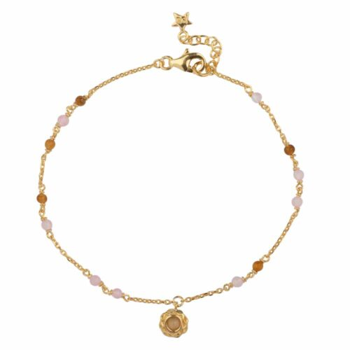 B2104 Gold Beads Pink and Camel Small Curly Edge Moonstone Bracelet Gold Plated 69,95