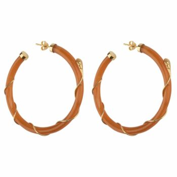 E2101 Gold CAMEL Resin Snake Hoop Earring Gold Plated Camel 69,95