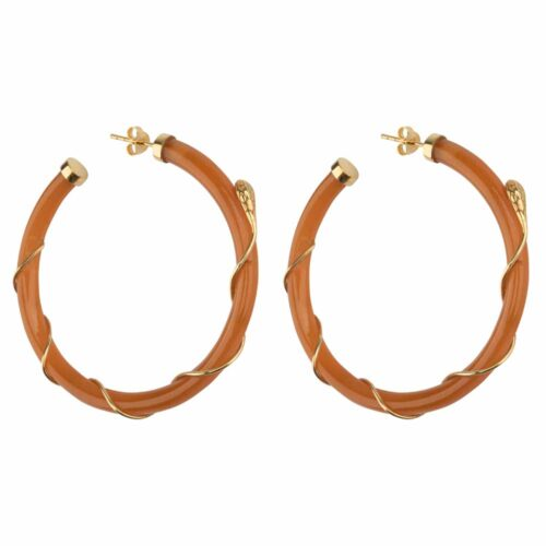 E2101 Gold CAMEL Resin Snake Hoop Earring Gold Plated Camel 69,95