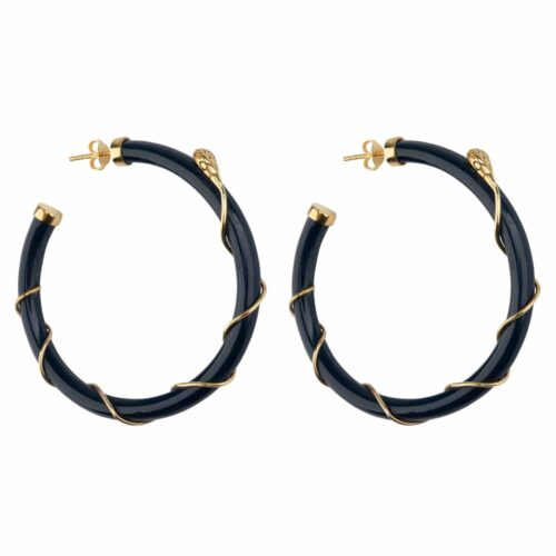 E2101 Gold DARK BLUE Resin Snake Hoop Earring Gold Plated Dark Blue 69,95