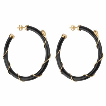 E2101 Gold DARK GREY Resin Snake Hoop Earring Gold Plated Dark Grey 69,95