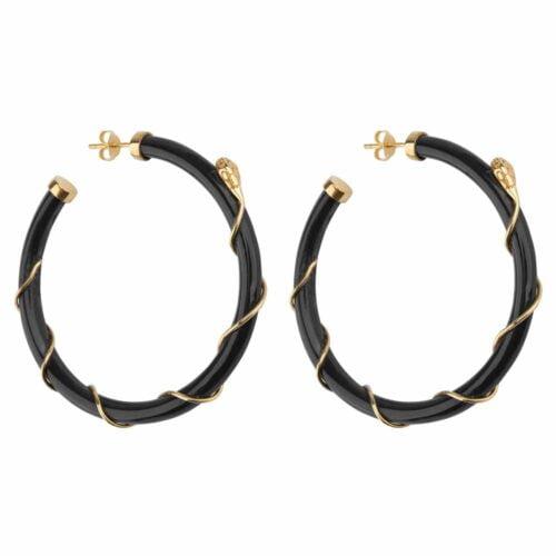 E2101 Gold DARK GREY Resin Snake Hoop Earring Gold Plated Dark Grey 69,95