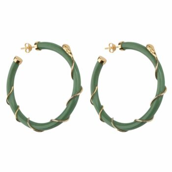 E2101 Gold GREEN Resin Snake Hoop Earring Gold Plated Green 69,95