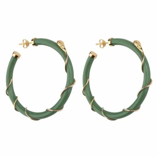 E2101 Gold GREEN Resin Snake Hoop Earring Gold Plated Green 69,95