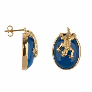 E2106 Gold BLUE Lizard Stud Blue Calcedone Earring Gold Plated 99,95